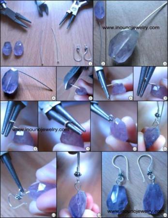 image آموزش کامل و تصویری درست کردن گوشواره در خانه با سنگ های رنگی