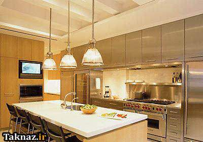 image طراحی مدرن آشپزخانه با نور و چراغ ۲۰۱۳