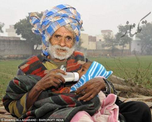 image عکس های پیر مردی که در  سالگی پدر شد