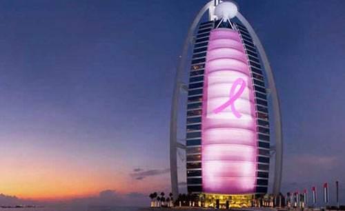 image عکسی دیدنی از برج العرب به رنگ صورتی در شهر دبی