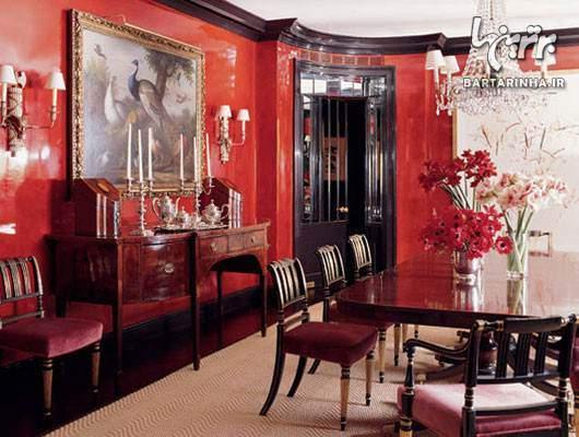 image آموزش و عکس های چیدمان منزل با طراحی رنگ قرمز