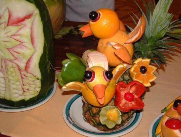 image, تزیین میوه پرتقال به شکل جوجه و پرنده