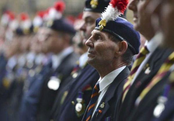 image, نظامیان بازنشسته ارتش سلطنتی بریتانیا در تجمعی در مرکز لندن