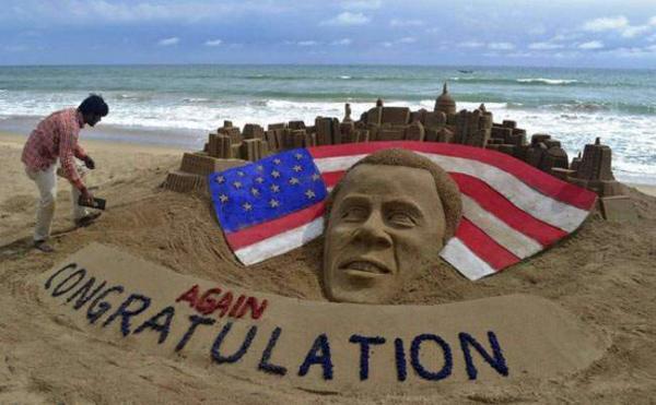 image درست کردن مجسمه شنی اوباما از سوی یک هنرمند هندی در ساحل پوری