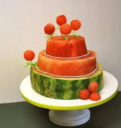 عکس, مدل تزیین جدید هندوانه برای شب یلدا به شکل کیک سه طبقه