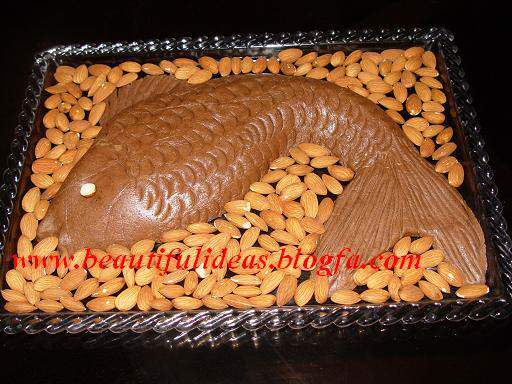 image, تزیین حلوا به شکل ماهی بسیار زیبا برای مهمانی های رسمی