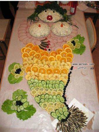 image, تزیین سالاد و میوه برای میز مهمانی های رسمی به شکل پری دریایی