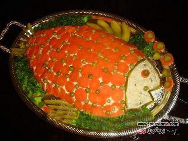 image مناسب مهمانی رسمی تزیین سالاد الویه شکل ماهی با هویج جدید