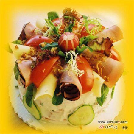 image تزیین سالاد الویه به شکل شیرینی