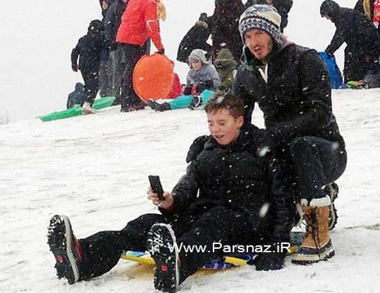 image عکس های برف بازی دیوید بکهام پدر با پسر ها
