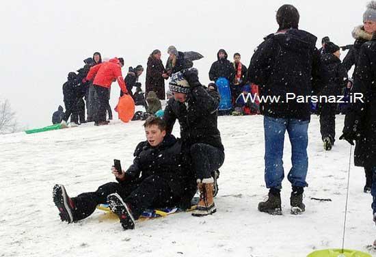 image, عکس های برف بازی دیوید بکهام پدر با پسر ها