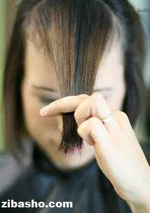 image آموزش تصویری کوتاه کردن موی زنانه مدل چتری کج