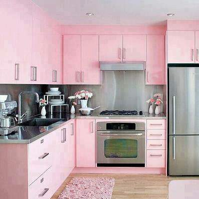 image مدل جدید کابینت آشپزخانه MDF صورتی رنگ