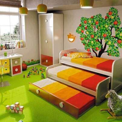 image طراحی اتاق بچه با تخت سه نفره مدل جدید