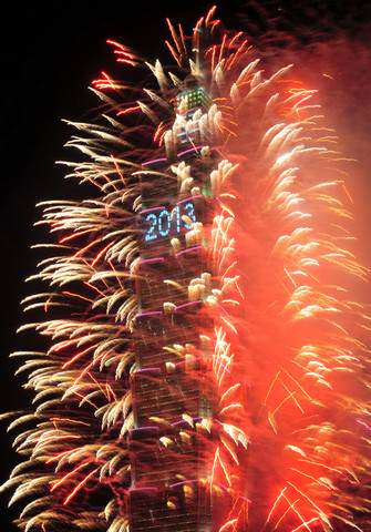 image نور افشانی برج مخابراتی تایپه به مناسبت سال نو