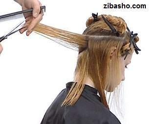 image آموزش تصویری کوتاه کردن موی بلند زنانه و رنگ زدن مسی طلایی