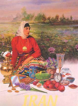 image کارت پستال دختر روستایی کنار سفره هفت سین