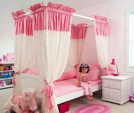 image مدل جدید تخت و کمد سفید صورتی اتاق دختر بچه