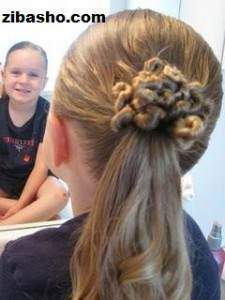 image, آموزش عکس به عکس درست کردن مدل موی زنانه شینیون خورشیدی