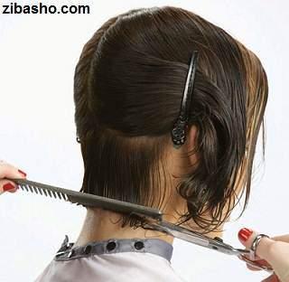 image آموزش عکس به عکس کوتاه موی زنانه در خانه مدل باب گرد