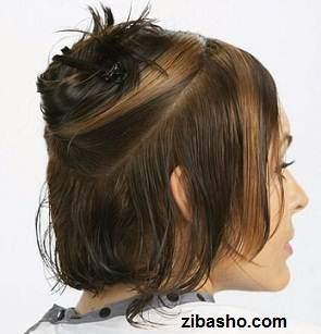 image, آموزش عکس به عکس کوتاه موی زنانه در خانه مدل باب گرد