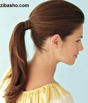 image آموزش عکس به عکس مدل دم اسبی مو ساده برای خانم ها