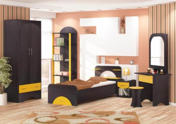 image مدل جدید چیدمان اتاق دختر خانم ها ترکیب رنگ سیاه و زرد