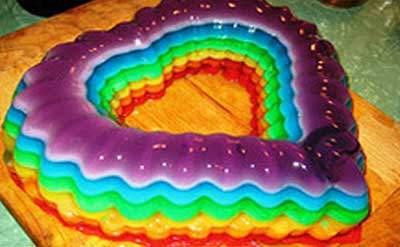 image مدل های جدید تزیین ژله رنگین کمانی و ژله هفت رنگ