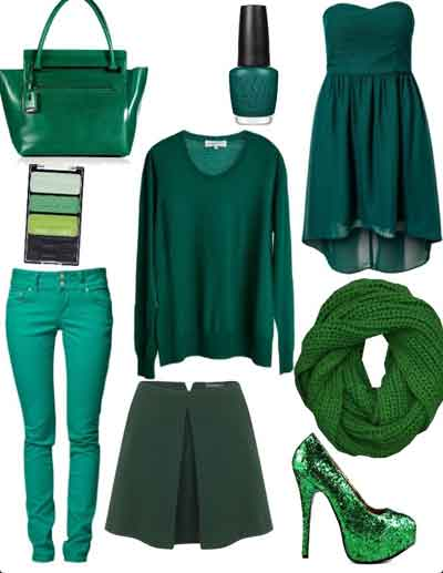 image مدل های جدید مجموعه لباس ها و جواهرات سبز زمردی رنگ سال