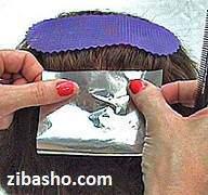image آموزش عکس به عکس مش زدن موهای زنانه با فویل در خانه