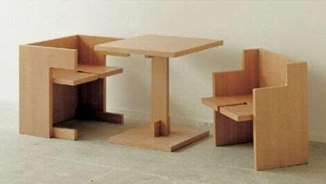 image ایده ساخت سرویس غذاخوری ۲ نفره چوبی بسیار کوچک