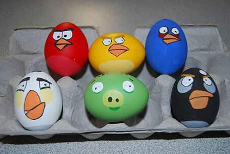 image تصویری تزیین تخم مرغ عید شکل Angry Birds