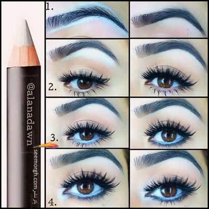 image آموزش تصویری آرایش چشم با مداد سفید