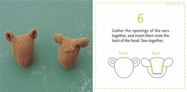 image آموزش تصویری ساخت عروسک خرس با دستکش کهنه