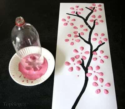 image, آموزش طرح تابلوی گل ساده با ته بطری