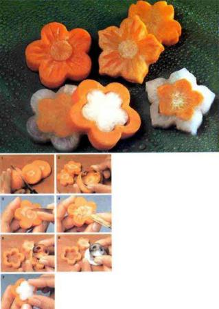 image ساخت گل های هویجی تربی برای تزیین سالاد