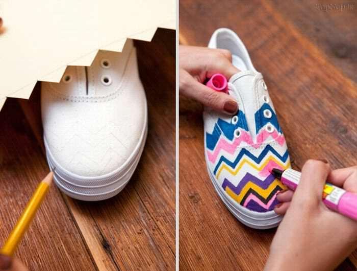 image آموزش رنگ کردن کفش های سفید ساده با ماژیک