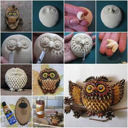 image آموزش تصویری ساختن عروسک جغد با خمیر