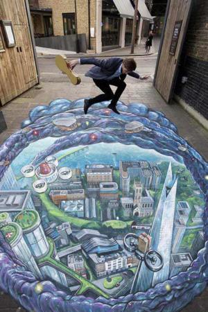 image, نقاشی سه بعدی در کف خیابان لندن