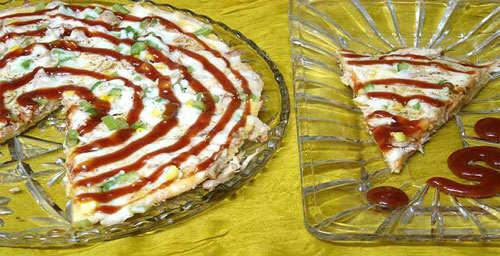 image آموزش تصویری پخت پیتزای مرغ در خانه