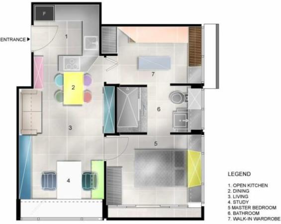 image, شیک ترین شادترین دکوراسیون آپارتمان کوچک با نقشه