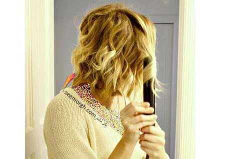 image آموزش تصویری فر کردن موهای سر با اتو در خانه