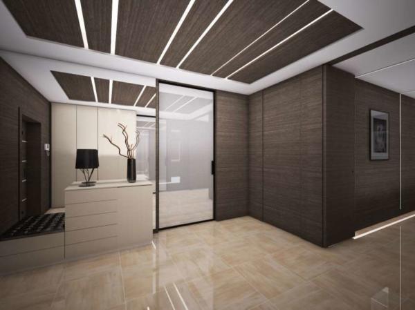 image طراحی فوق العاده شیک آشپزخانه و پذیرایی قهوه ای