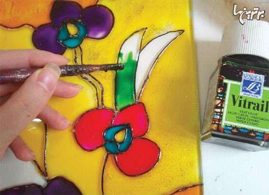 image آموزش تصویری نقاشی کشیدن روی شیشه پنجره