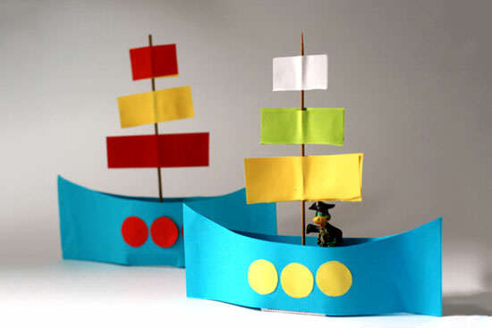 image آموزش عکس به عکس ساخت قایق کاغذی رنگارنگ