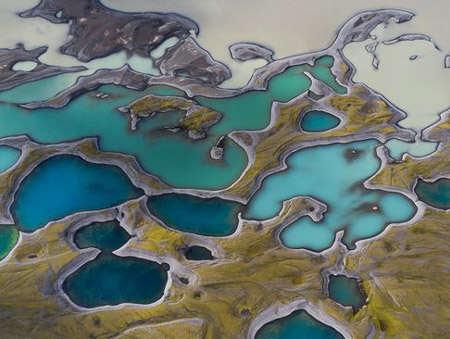 image, تصویر هوایی دریاچه های آتشفشانی ایسلند