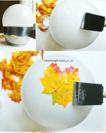image آموزش درست کردن ظرف دکوری با برگ های زرد