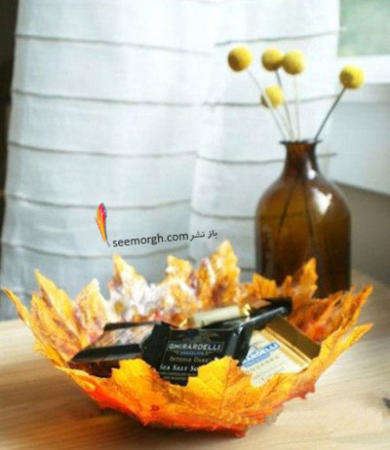 image, آموزش درست کردن ظرف دکوری با برگ های زرد