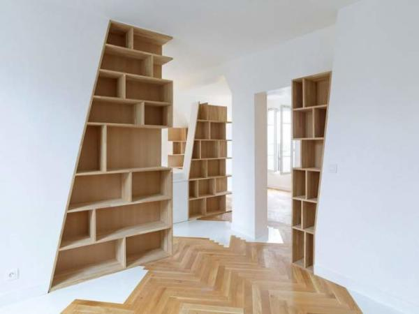 image, دکوراسیون دیوارهای خانه با کتابخانه و نحوه چیدن آن