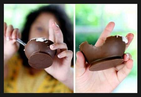 image آموزش تصویری ساخت ظرف شکلاتی مخصوص دسر و بستنی